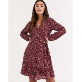 オアシス Oasis レディース ワンピース ラップドレス ワンピース・ドレス wrap dress in heart print バーガンディ