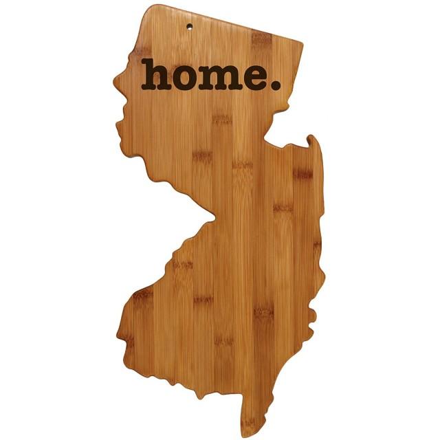 ニュージャージーの形をした竹製まな板。彫刻された家。 新家族 家庭 新築祝い 結婚式 引っ越し祝い ギフト カスタマイズ可