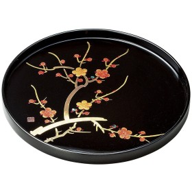 会津漆器  黒 10.0 丸盆 香梅(手描)