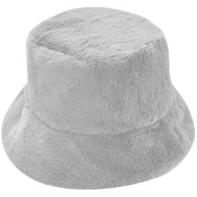 洋子ちゃん レディース 帽子 冬 ふわふわ 暖かい バケットハット Bucket Hat キャップ 無地 ベレー帽 (銀色, キャップ周り:約56-58cm)