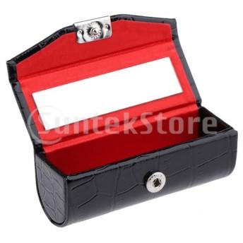 ブラック/レッドPUレザーリップスティックケースホルダー収納ケースミラー付き財布用2個軽量ブラックリップグロスコンテナ