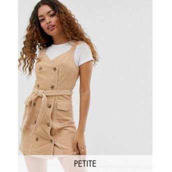 ミス セルフリッジ Miss Selfridge Petite レディース ワンピース ワンピース・ドレス cord pinny dress in camel キャメル