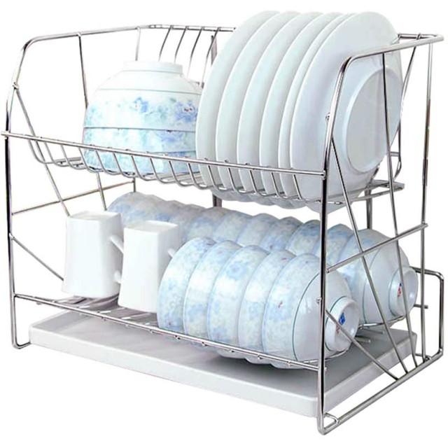 カウンタートッププレート/ボウル構成 ステンレス鋼の食器乾燥ラックプレートラック2段