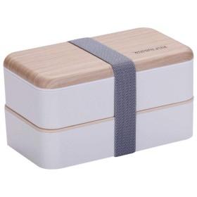 弁当箱 2段 シ 大容量 ランチボックス 北欧風インダブル大人学生弁当箱 ストラップすし箱,White