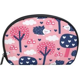 ALAZA ヘッジホッグツリー 半月 化粧品 メイク トイレタリーバッグ ポーチ 旅行ハンディ財布オーガナイザーバッグ