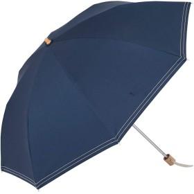 UVカット 遮光折傘 クールプラス ステッチ 晴雨兼用 50cm 日傘 ラミネート生地【LIEBEN-0527】 (ネイビー)