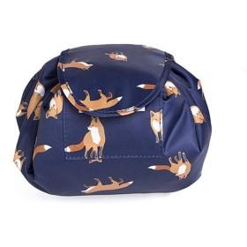 メイクアップバッグ旅行メイクケース化粧オーガナイザーホルダー怠惰な巾着トイレタリーバッグ大容量ポータブルコンパクトクイックパック防水旅行コスメティックバッグ (blue)