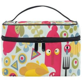 ユキオ(UKIO) メイクポーチ 大容量 シンプル かわいい 持ち運び 旅行 化粧ポーチ コスメバッグ 化粧品 ソーセージ レディース 収納ケース ポーチ 収納ボックス 化粧箱 メイクバッグ