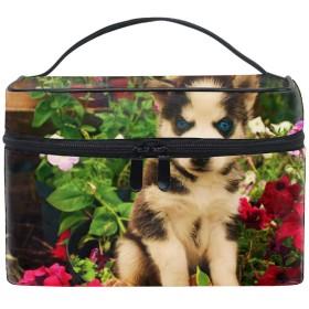 犬ハスキー顔花赤ちゃん旅行も便利 撥水する防水ポーチ 化粧ポーチ トラベルポーチ
