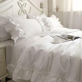 寝具カバーセット 【簡潔綺麗!】綿100%ホワイトラッフルフリル寝具カバーセット (ダブル)