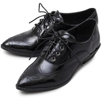 A.M.S. エーエムエス オックスフォード シューズ ポインテッドトゥ レディース ウィングチップ おじ靴 通勤 通学 エナメル ars-3013