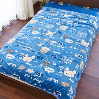 毛布 シングル 洗える 「モフトピア DOGS」 ブルー フランネル 綿入り あったか 冬 ブランケット かわいい 犬 140×200cm