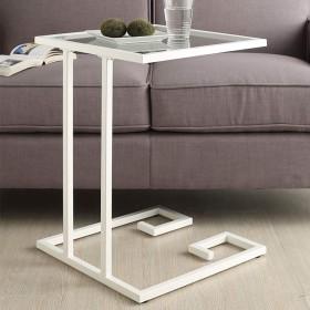 HAUYU テーブル 強化ガラスとメタルエンドテーブルネスティングコーヒーテーブル寝室、リビングルーム、パティオ、バルコニー用のナイトスタンド 耐久性のある (色 : 白)