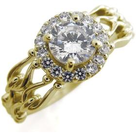 プレジュール ダイヤモンド アンティーク 指輪 取り巻き ゴージャス 大粒 K18イエローゴールド リングサイズ11号