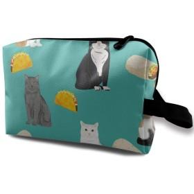 猫 タコス 柄 化粧バッグ 収納袋 女大容量 化粧品クラッチバッグ 収納 軽量 ウィンドジップ