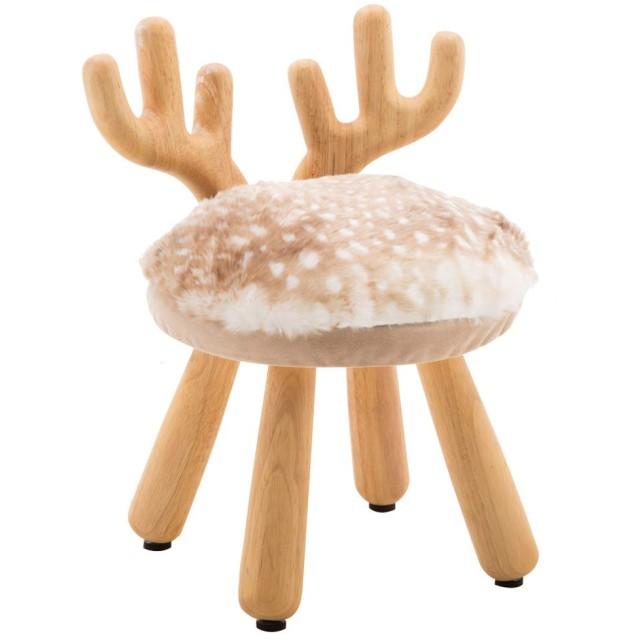 キッズチェア 手作り ソリッドウッドの木製椅子 ラウンドスツール ウッド 小さい椅子 子供用 玄関 ダイニングチェア 幼稚園、 ベビールーム、子供の部屋飾り クリエイティブ 勉強用 耐荷重150kg (自然の色 ニホンジカ)