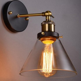 シンプルさ壁掛け燭台壁、mklot工業工場壁ランプ7.28 Wide withクリアガラスシェードクロームハードウェア1-light クリア MKLOT Industrial Vintage Light