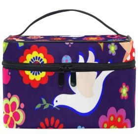 バララ (La Rose) 化粧箱 コスメポーチ 大容量 おしゃれ 機能的 かわいい 花柄 和風 鳥柄 化粧ポーチ メイクポーチ 軽量 小物入れ 収納バッグ 女性 雑貨 プレゼント