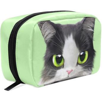 猫 グリーン 化粧ポーチ メイクポーチ 機能的 大容量 化粧品収納 小物入れ 普段使い 出張 旅行 メイク ブラシ バッグ 化粧バッグ