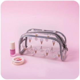 透明です 防水 化粧ポーチ メイクボックス ポータブル な かわいい 女 ウォッシュ バッグ 化粧バッグ旅行 女性化粧品バッグ-ブラウンB 19x6x11cm(7x2x4inch)