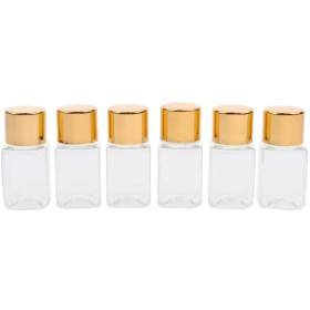6個 メイクアップボトル クリア 詰め替え エッセンシャルオイル ボトル 3色選べ - ゴールドキャップ