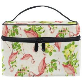 メイクポーチ フラミンゴ 花柄 化粧ポーチ 化粧箱 バニティポーチ コスメポーチ 化粧品 収納 雑貨 小物入れ 女性 超軽量 機能的 大容量
