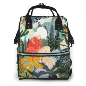 マザーズバッグ マザーズリュック ジャングルの中 少女 防水 ハンドバッグ おしゃれ 多機能 多用途 大容量 多ポケット ベビー用品収納 お出産祝い 旅行 ママバッグ