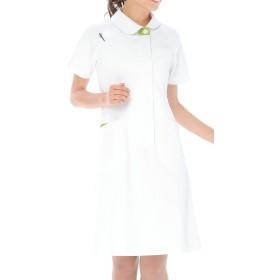 カゼン 医療用 ワンピース半袖 ホワイトXオリーブ LL