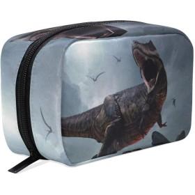 恐竜 化粧ポーチ メイクポーチ 機能的 大容量 化粧品収納 小物入れ 普段使い 出張 旅行 メイク ブラシ バッグ 化粧バッグ