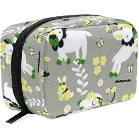 ヤギ 花柄 化粧ポーチ メイクポーチ 機能的 大容量 化粧品収納 小物入れ 普段使い 出張 旅行 メイク ブラシ バッグ 化粧バッグ
