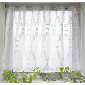カフェカーテン レース 小窓カーテン 幅100cm (エボニー, 丈90×幅100cm)