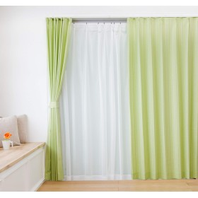 遮光裏地付ドットストライプカーテン&レースカーテン4枚セット (幅100×丈200cm(各2枚), グリーン)