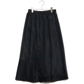 コムサイズム COMME CA ISM オーガンジーブロッキングプリーツスカート (グリーン)