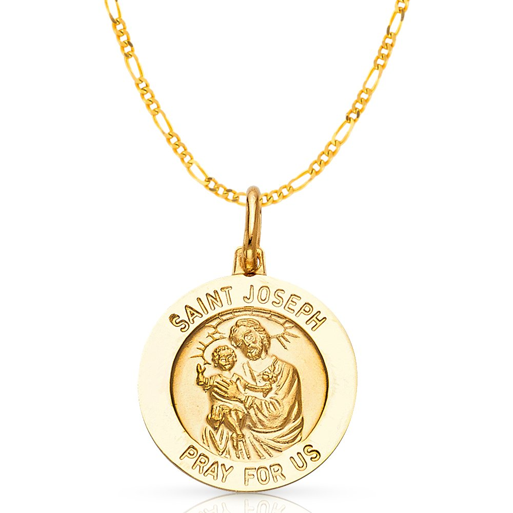 CaliRoseJewelry 14k Gold Saint Joseph Pray Us Oval Charm Pendant Necklace