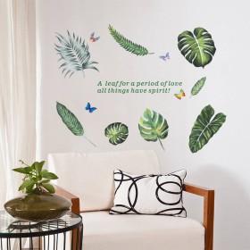 ZooArts ウォールステッカー 緑の葉 植物 蝶々 爽やか 自然風 DIY 玄関 オフィス バスルーム 壁紙シール 壁の装飾 環境保護 おしゃれ はがせる インテリア雑貨