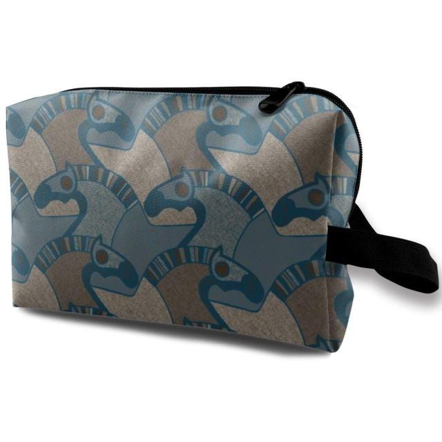 化粧ポーチ コンパクトサイズ,Blue_3472と名付けられた馬、オックスフォード布のカラフルなバッグミニトラベル
