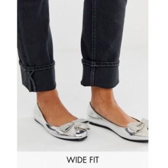 エイソス ASOS DESIGN レディース スリッポン・フラット シューズ・靴 Wide Fit Vanity embellished bow ballet flats in silver シルバ