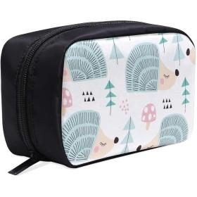 GXMAN メイクポーチ かわいい動物のヘッジホッグ ボックス コスメ収納 化粧品収納ケース 大容量 収納 化粧品入れ 化粧バッグ 旅行用 メイクブラシバッグ 化粧箱 持ち運び便利 プロ用