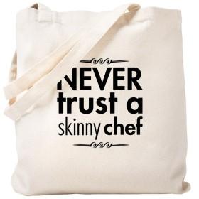 CafePress–Never Trust a Skinny Chef–ナチュラルキャンバストートバッグ、布ショッピングバッグ S ベージュ 0227139880DECC2