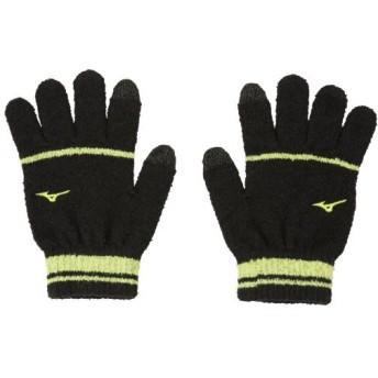 MIZUNO SHOP [ミズノ公式オンラインショップ] ブレスサーモ手袋(マシュマロスマホのびのび)[ユニセックス] 94 ブラック×セーフティイエロー 32JY9604