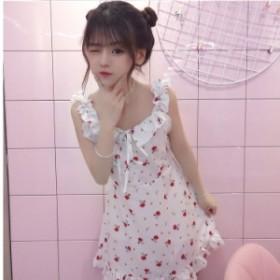 韓国 ファッション レディース ワンピース カジュアル 花柄 ミニワンピース キャミワンピース レディース 韓国 オルチャン ファッション