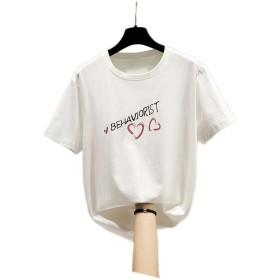 LSHJP 女性の半袖韓国のBf風緩い底入れ潮Tシャツ (Color : 白, Size : XL)