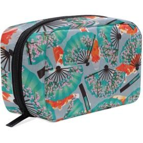 桜柄 扇子柄 化粧ポーチ メイクポーチ 機能的 大容量 化粧品収納 小物入れ 普段使い 出張 旅行 メイク ブラシ バッグ 化粧バッグ