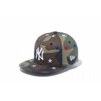 NEW ERA ニューエラ キッズ 9FIFTY スターズ ニューヨーク・ヤンキース ウッドランドカモ × スノーホワイト スナップバックキャップ アジャスタブル サイズ調整可能 ベースボールキャップ キャップ 帽子 男の子 女の子 49.2 - 53cm 12108764 NEWERA
