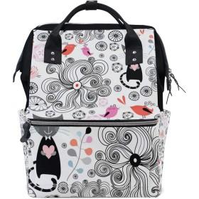 ANNSIN マザーズバッグ ママバッグ リュック バックパック ハンドバッグ 3WAY 多機能 防水 大容量 軽量 シンプル おしゃれ ベビー用品収納 出産準備 旅行 お出産祝い 猫 鳥 花柄