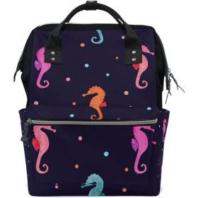 ママバッグ マザーズバッグ リュックサック ハンドバッグ 旅行用 タツノオトシゴ ピンク ファション