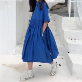 ワンピース シャツワンピース ロング丈 無地 韓国ファッション オルチャンファッション