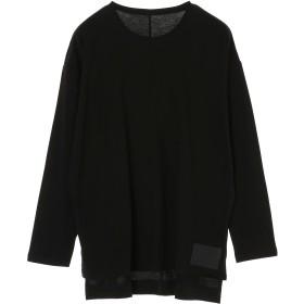 DIET BUTCHER SLIM SKIN Drop shoulder leather patch long sleeve T-shirt Tシャツ・カットソー,BLACK