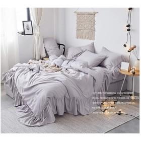 綿100% 姫系フリルレース模様寝具カバー シングル グレーのコットン掛ふとんカバーと枕カバー2枚