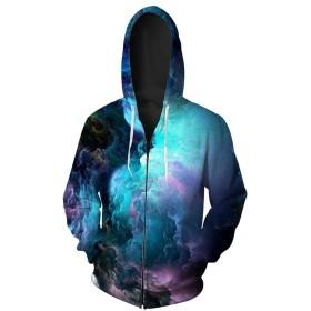 ユニセックス カップル フード付き トレーナー 3Dプリント 速乾性 スウェットシャツ 長袖 フーディー ポケットトップ #101 (Color : 576, Size : L)